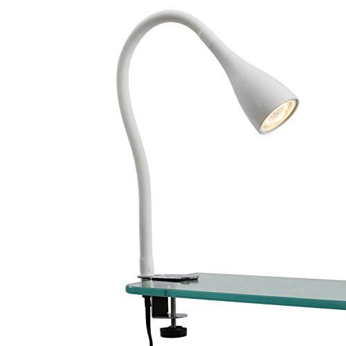 Lampada LED da tavolo con morsetto dimmerabile, include lampadina 5W GU10, luce calda 3000K, lampada da scrivania o comodino bianca 3