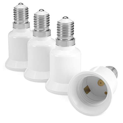 kwmobile adattatore lampadina E14 E27-4x attacchi porta lampada da E14 a E27 convertitore per lampadine alogene LED a risparmio energetico