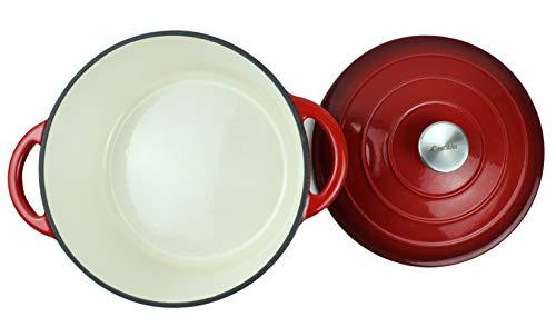 Pentola in ghisa smaltata con forno olandese con doppio manico e coperchio Casseruola per piatti – cocotte rotonda, 26 cm, rosso 6