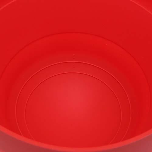 No brand Tuneway Ciotola Pieghevole nel Silicone per Popcorn Un microonde con Coperchio e Maniglie (Rosso) 4