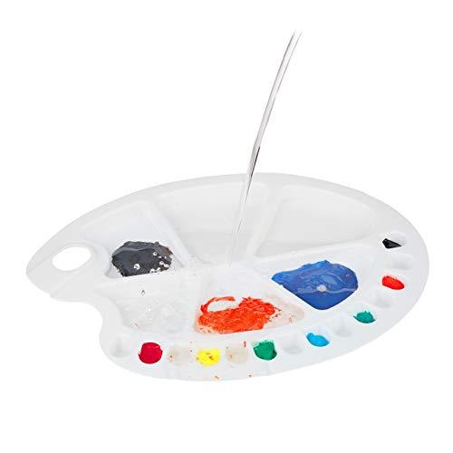 Relaxdays, Bianca Tavolozza dei Colori, con Foro per Il Pollice, per Studenti e Pittori, con 20 Vaschette, in Plastica, 1.5 x 34 x 25 cm 7