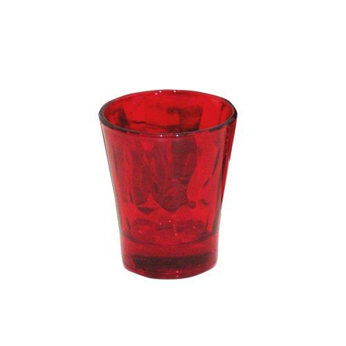 Bormioli Rocco Red Collection Diamond Set 6 Bicchieri Liquore cl 8, Rosso, 6 cm, 6 unità