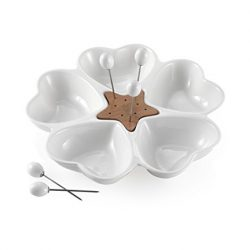 Brandani 56818 Antipastiera mille cuori in porcellana bianca e bamboo con 5 forchettine acciaio inox 2
