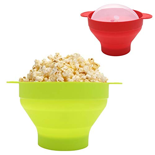 No brand Tuneway Ciotola Pieghevole nel Silicone per Popcorn Un microonde con Coperchio e Maniglie (Rosso) 9