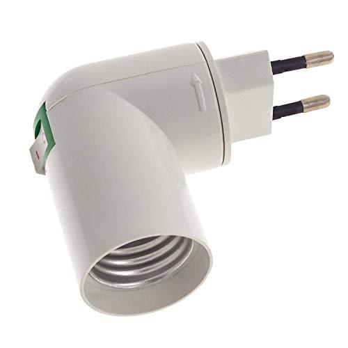 Portalampada E27 con Adattatore e Spina EU, Spina Girevole 360°con Interruttore On/Off, per Lampade da Tavolo, Luce Notturna, Lampada Smart LED, Faretti a Parete, set di 2 (senza lampadina) 5