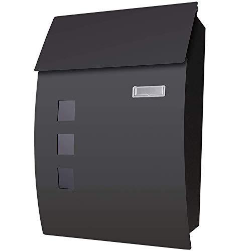 Voluker Cassetta postale,Cassetta della posta in acciaio,45 x 10 x 32cm,Cassette postali con fissaggio a parete Nero 2