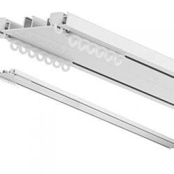 Binario per Tende e Sopratende – 2 Canali a Strappo – Installazione a Soffitto – in alluminio, completo per l'installazione 2