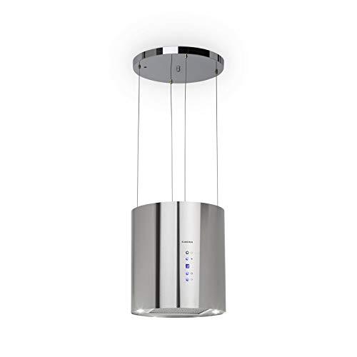 Klarstein Barett – Cappa Aspirante, Cappa ad Isola, Ø 35 cm, 190 Watt, 560 m³ / h, 3 Livelli di Potenza, Illuminazione LED, Acciaio Inox, Argento