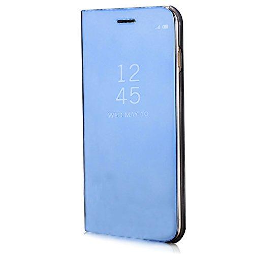 XINYIYI Custodia per Huawei Mate 10 Lite Placcatura Specchio, Lusso Libro Slim Cover Supporto Caso Sottile Glitter Mirror Disegni Crystal Clear Flip Pelle Antiurto Protettiva (Blu)