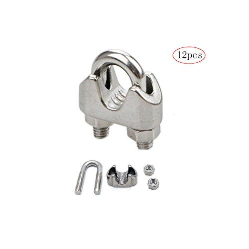 m3 fune metallica morsetti Brache 304 in acciaio INOX Rigging m2/m3/M4/M5/M6/M8/M10/M12 available-m2, 12pcs of M3, Wire Rope Clips, 12