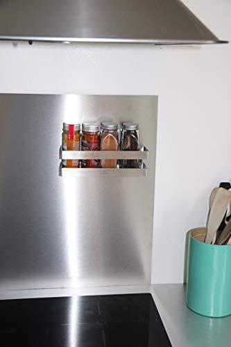 COMPACTOR Porta spezie magnetico, Fino a 1,5 kg, Acciaio inox, Argento, 20.5 x 6 x H.6 cm, RAN8201 8
