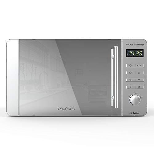 Cecotec ProClean 5120 – Microonde Acciaio Inossidabile ProClean 5120 con grill specchio con copertura Ready2Clean facile pulizia, Tecnologia 3DWave, 700 W, 20l, Frontale MirrorDoor, 8 Programmi.