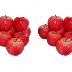16 Mele Decorative, Rosse, Verdure Artificiali, Frutta, Frutta, Decorazione 2