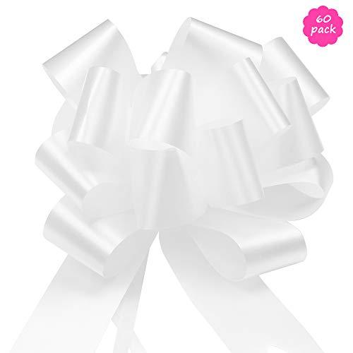 YZPUSI 60 Bianco Matrimonio Coccarde Decorativi Fiocco, Pull Bow per Auto Addobbo, Battesimo, Sedie, Regali, Alberi di Natale, Pacchetti