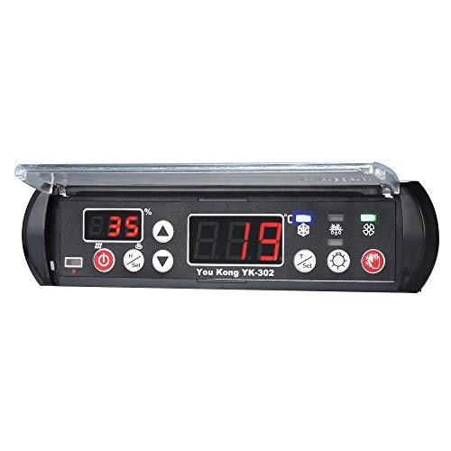 KKmoon Digitale Regolatore di Temperatura e Umidità 220V Rettile Termostato Igrostato per Cova Serra Macchina di Coltivazione Magazzino Medicina Raffreddamento Microcomputer Regolatore