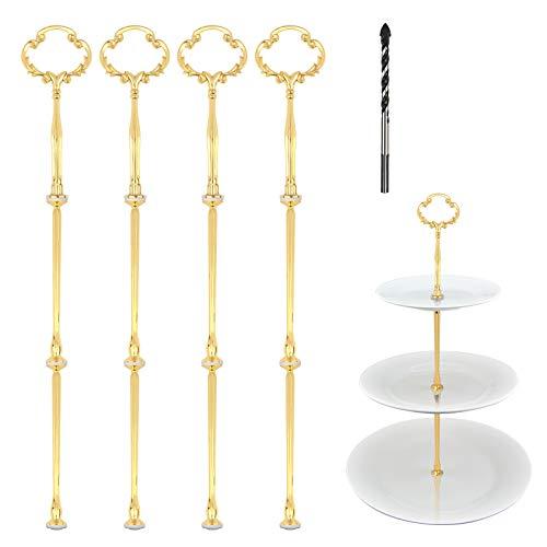ZoomSky Alzata per Torta, 4 Set 2 o 3 Livelli Supporto per Dessert Maniglia di Supporto per Cupcake Design Floreale Oro per Il tè pomeridiano