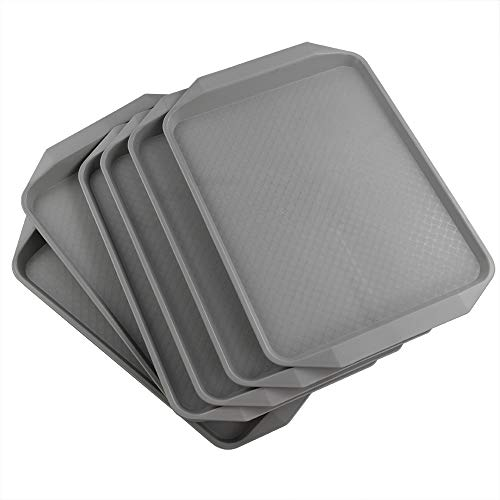Ordate Fast food Vassoio Vassoi da Portata Plastica Rettangolare Grande, Grigio, Set di 6