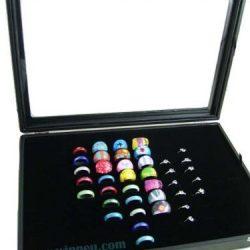 Espositore con velluto, per anelli, scatola per 100 anelli