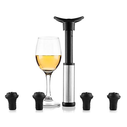 Blumtal Pompa Salvavino Sottovuoto con 4 Tappi Inclusi   per Preservare e Sigillare Vino in Bottiglia   Aspirazione Aria   Wine Saver per Prevenire Ossidazione   Misura Universale