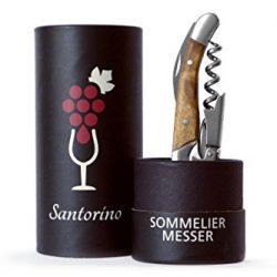 Santorino® Cavatappi – Coltello di Sommelier di Legno Esclusivo Campeche, Apribottiglie di vino in 2 passi, Cavitappi, Coltello da cameriere