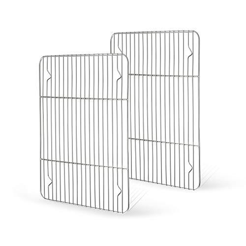 TeamFar – Set di 2 griglie di raffreddamento in acciaio INOX per forno, arrosti, grigliate, 39 x 29 x 1,5 cm, salutare e antiruggine, multiuso e lavabile in lavastoviglie, 2 stesse dimensioni
