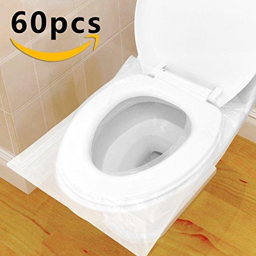 Copriwater Usa e Getta, HTBAKOI Copri WC Usa e Getta 60 PZ Pacchetto Singolo Materiale Antibatterico Dimensione Universale Perfetto per I Bagni Pubblici in Viaggio e in Campeggio