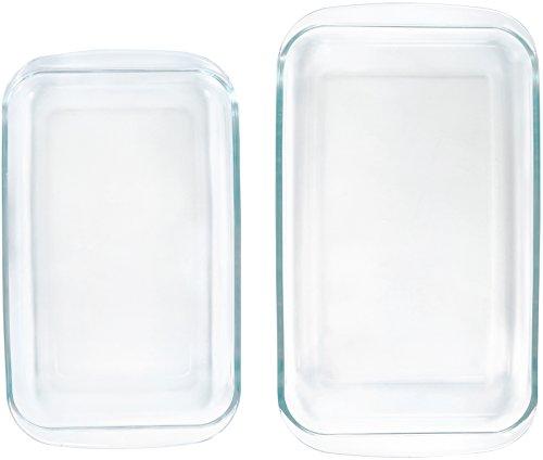 AmazonBasics – Pirofile da forno rettangolari in vetro, confezione da 2 4