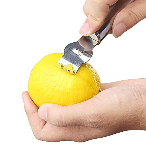 MINGZE Limone Pelatrici, Grattugia per Limoni, Limone in Acciaio Inox Zester Grattugia Arancia da Cucina per agrumi Pelapatate con Coltello a canali, Acciaio Inox 6