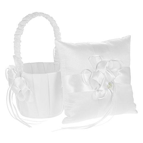 Decdeal 7 * 7 Pollici Fiore Bowknot Anello Portatore Cuscino e Nozze Fiore Ragazza Cestino Set in Raso Bianco Avorio