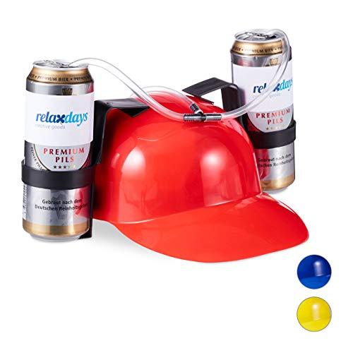 relaxdays- Cappello Porta Birra, Elmetto con Cannuccia, per 2 Lattine, Gadget per Carnevale, Calcio, Feste Adulti, Rosso, 13 x 32 x 28 cm, 10022789_47