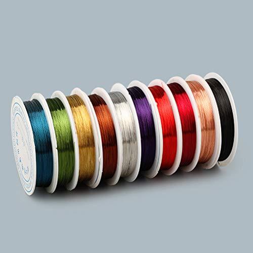 SUPVOX 0,38 millimetri gioielli che bordano il filo di rame per i mestieri che bordano monili che fanno, ogni rotolo di colore uno 10 rotoli 9