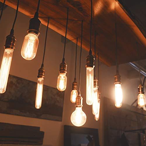 DiCUNO E27 Vintage Portalampada, Edison retro lampada a sospensione, Adattatore in ceramica solida, 6 Pezzi di ottone vintage socket 8