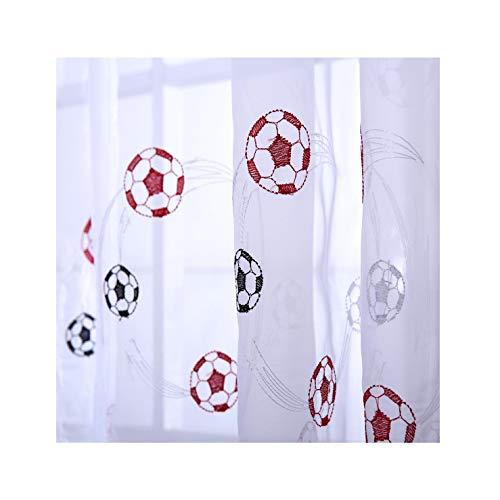 Ians Emporium – 1 Tenda a pannello in voile per la camera dei bambini, motivo: palloni da calcio, di colore rosso, bianco e nero, 140cm (larghezza) x 230 cm (caduta)