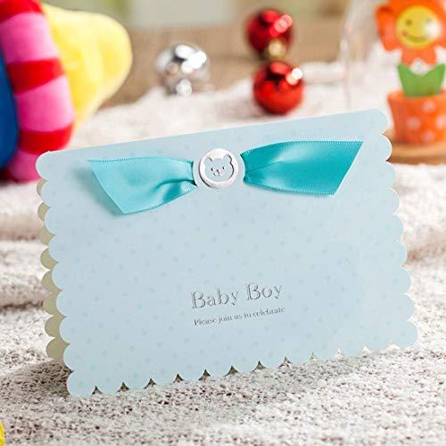 WISHMADE 20x kit di carte blu per inviti con orso e cartoni animati Car Design per ragazze compleanno Baby Shower con carta stampabile e buste