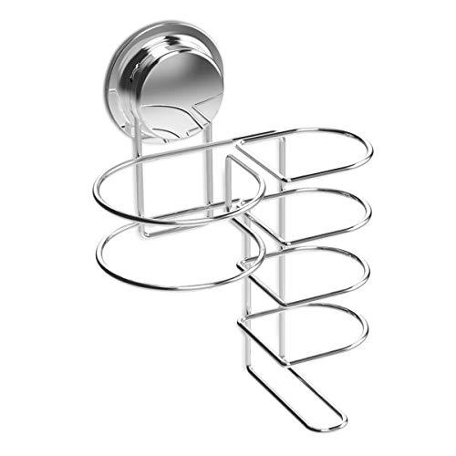 Navaris Porta Phon e Piastra con Ventosa – Cestino Adesivo Muro/Vetro per Cura Capelli – Porta Asciugacapelli Portapiastra Cromato per Parrucchieri