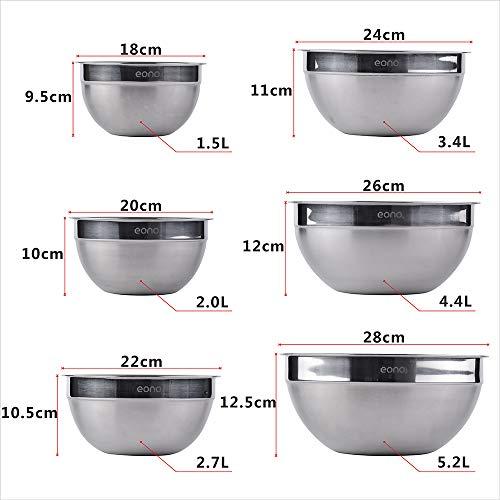 Eono Essentials set da 6 ciotole impilabili, in acciaio inossidabile, finitura opaca e a specchio 5