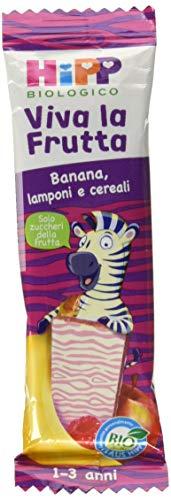 Hipp Barrette Viva la Frutta Banana, Lamponi e Cereali – Confezione da 22 x 23 g
