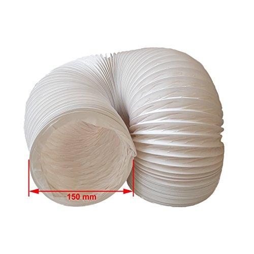 daniplus© – Tubo di scarico d'aria, flessibile, in PVC, diametro 150 mm, lunghezza 6m, perfetto per impianti di climatizzazione, asciugatrici e cappe aspiranti