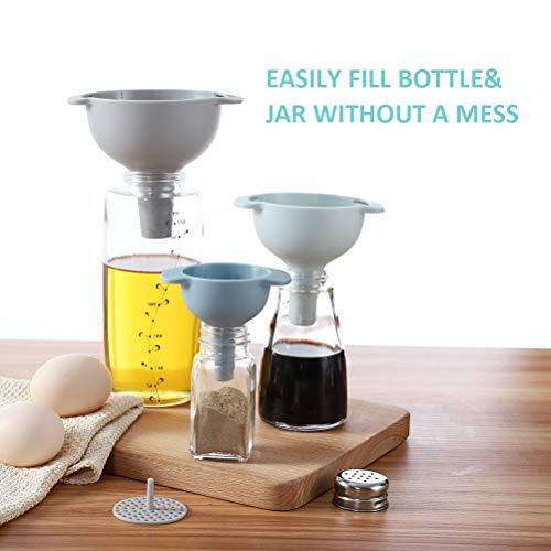 Imbuto da cucina – Imbuto nidificato con manico – Confezione da 3 imbuti in plastica per uso alimentare con filtro staccabile per il trasferimento di liquidi, liquidi, ingredienti secchi e polvere 7