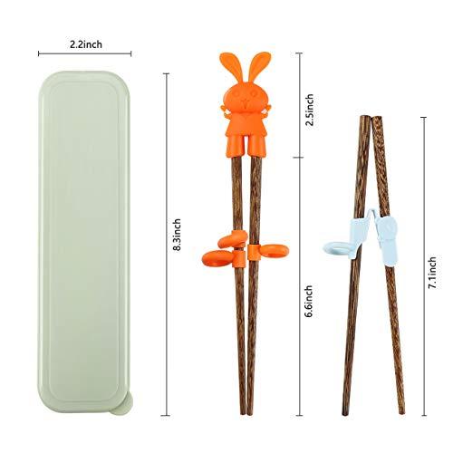 Totken – Bacchette per bambini, 2 paia di bacchette in legno per allenamento/apprendimento per principianti, mano destra o sinistra, con scatola portatile 4