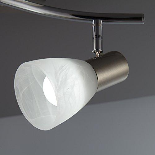 Plafoniera LED con 2 faretti orientabili, include 2 lampadine da 5W E14, lampada da soffitto per soggiorno, sala o camera da letto, metallo color nickel opaco e vetro, 230V, IP20 5