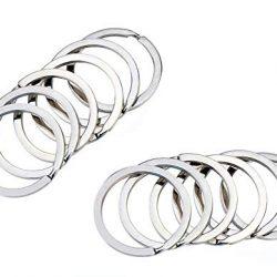 Ericotry 50pz rotondo in acciaio INOX piatto portachiavi anelli portachiavi in metallo, con anello portachiavi porta chiavi casa chiavi auto organizzazione, Silver, 3.0cm