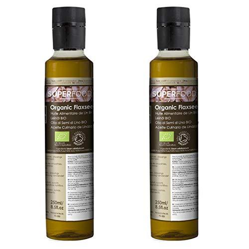 Olio Alimentare di Semi di Lino Vergine Biologico – Naturale al 100% – 500ml (2x250ml)