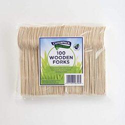 Caterpack Enviro forchette in legno, confezione da 100  sustainably-sourced e biodegradabili monouso posate   100% di betulla   100unità