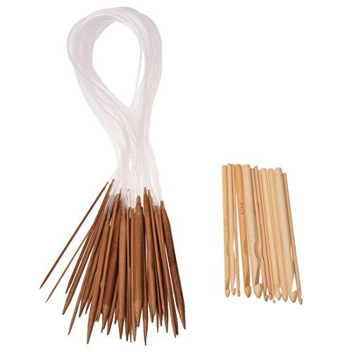 SODIAL (R) 18 dimensioni 2,0 millimetri-10,0 millimetri 80 centimetri aghi circolare da maglia e uncinetti in bambu' 12 formati 3,0-10mm 2
