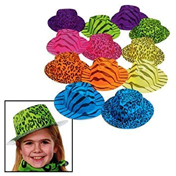 Fun Express Neon Animal Print Gangster Hats (1 Dozen) by Everready First Aid