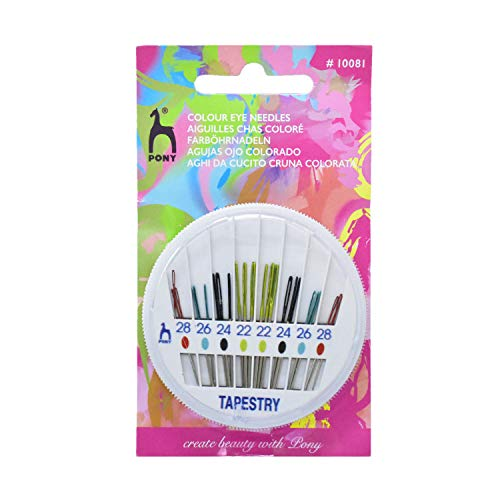 Embroiderymaterial Pony Tapestry 22-28 Colour Eye Needle for Sewing and Embroidery Purpose (24 Needles)