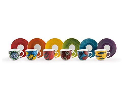 Excelsa Afrika Set 6 Tazzine da caffè con Piattino, Porcellana, Multicolore
