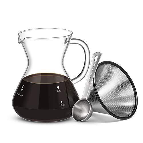 Soulhand Versare sopra Il Set per Il caffè – Caffettiera in Vetro Borosilicato 17oz 500ml, Gocciolatore Riutilizzabile del Filtro dell'Acciaio Inossidabile, Paletta del caffè 1 Cucchiaio