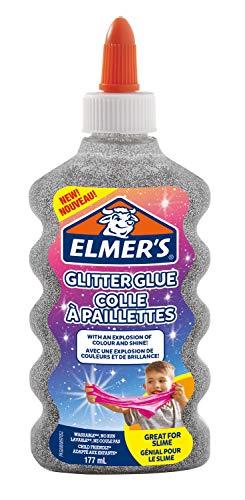ELMER'S Colla Glitterata, Lavabile e Adatta ai Bambini, Ottima per Realizzare Slime, 177 ml, Argento